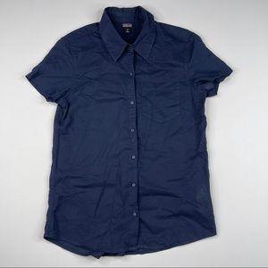 Patagonia Top Blouse Button Navy Blue Cotton